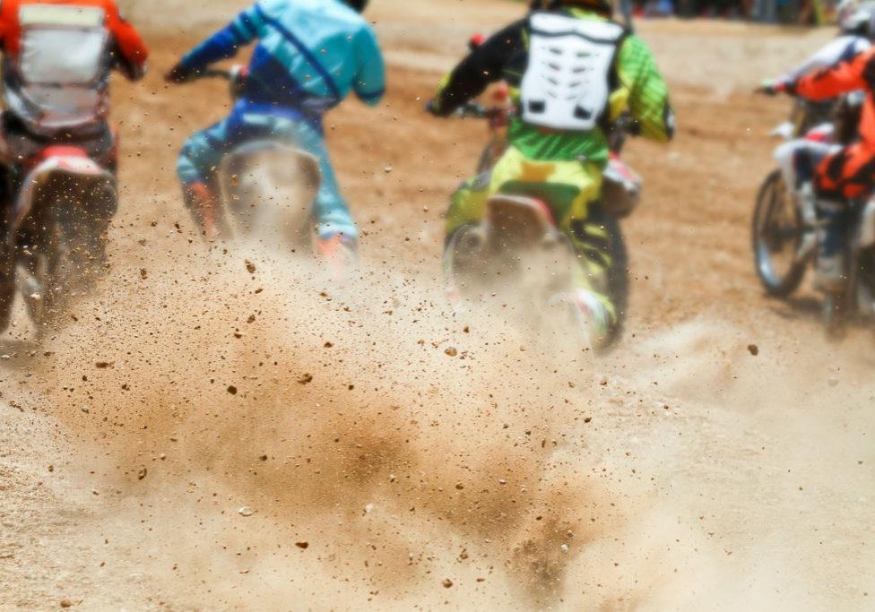 Dirt debris from a motocross race